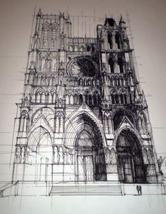 Architectural Drawing Ideas the Gothic Amiens Cathedral - France - Cathedral of Our Lady of Amiens (French: Cathédrale Notre-Dame d'Amiens) Architects:Robert of Luzarches, Thomas and Regnault de Cormont Art Sketches, Art Drawings, Art Et Architecture, Cathedral Architecture, French Gothic Architecture, Ancient Architecture, Inspiration Art, Urban Sketching, Concept Art