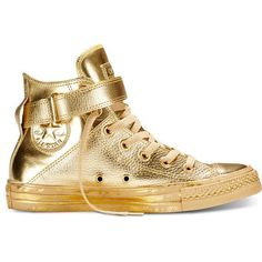 Converse Chuck Taylor All Star Brea Metallic – gold Sneakers (950 ARS) ❤ liked on Polyvore featuring shoes, sneakers, gold, converse trainers, converse sneakers, leather high top sneakers, high top sneakers and high top shoes