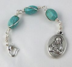 Three Hail Mary Rosary Chaplet Sacred Heart of Jesus with St Raphael The Archangel, $8.00