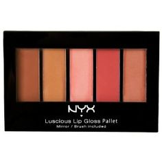 NYX Lip Gloss Palette, The Naturals, 0.26 Ounce by NYX. $7.99. Each comes with a lip brush applicator. Long-lasting gloss formulation hydrates, conditions and protects lips. Five shades of lip gloss in a convenient, all-in-one palette. The question on everyone's lips: what's on your pout? No need to kiss and tell with one of our dazzling lip gloss palettes stashed in your bag. Each offers five moisturizing and long-lasting lip gloss shades that can be blended to custo...
