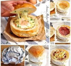 Ham Egg and Cheese Bread Bowls. Not a single baking tray pot or kitchen utensil needs washing. Ham Egg and Cheese Bread Bowls- Great for feeding an army and making ahead. Recipetin Eats, Campfire Food, Campfire Recipes, Bread Bowls, Cheese Bread, Camping Meals, Camping Hacks, Camping Cooking, Camping Dishes