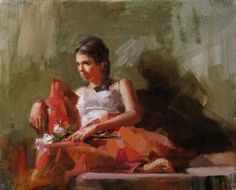 The Girl in Red, painting by artist Qiang Huang