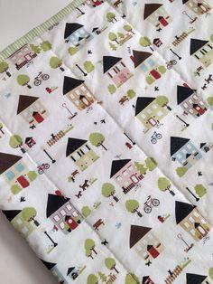 Modern Baby Quilt, Happy Neighborhood Quilt; Baby Quilt, Handquilted Quilt; Cotton Baby Blanket