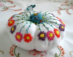 Pretty Posy Pincushion with emery and felt top. $30.00, via Etsy.  Lots of adorable pin cushions to choose from!  Fiberluscious!