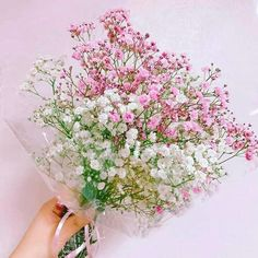 Flowers wallpaper quotes design studios Ideas for 2019 Amazing Flowers, Beautiful Flowers, Flower Girl Wreaths, Babys Breath Flowers, Bridal Bouquet Pink, Pink Plant, Wedding Table Flowers, Holding Flowers, Flower Aesthetic