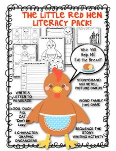 "Little Red Hen Literacy Pack: Retelling includes storyboard, Letter Writing, Word Family ""-en"" Game, Writing to Sequence the Story. $"