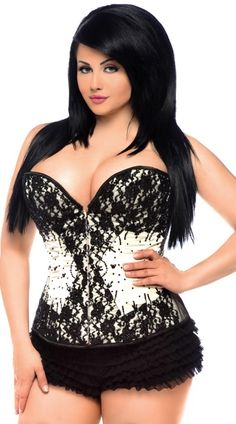 "This plus size black lace and ivory satin corset fetaures a sweetheart neckline, high quality black bead and sequin embellishments, steel boning, steel busk closure front, waist tape, cotton lining, a 6"" modesty panel, deluxe lace up back and removable garter straps. (Panty not included.) Plus Size Black Lace and Ivory Satin Sweetheart Corset #plussizelingerie #plussizecorsets #upto6x"