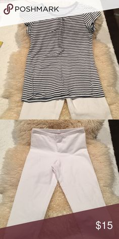 Cute girls blue & white  shirt & white leggins This cute little outfit has a 1989 place blue and white striped top and white leggings from Old Navy the Legans were never worn the top was but is in very good condition. Matching Sets
