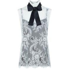 Philosophy Di Lorenzo Serafini Cream Lace Tie Neck Sleeveless Blouse