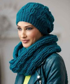 Free Knitting Pattern for Northern Lace Hat and Loop Scarf - Matching slouchy beanie and infinity scarf with a lace motif. Designed by Schachenmayr Lace Patterns, Knitting Patterns Free, Free Knitting, Crochet Patterns, Free Pattern, Knitting Tutorials, Stitch Patterns, Bonnet Crochet, Knit Or Crochet