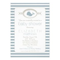 Blue Nautical Spouting Whale Striped Baby Shower Invites #babyboy #bluebaby #shopping #gifts #babyshower