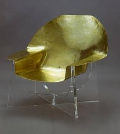Philippe Hiquily, beaten brass seat chair. The sculptures of HIQUILY are characterized by a pervasive eroticism, that translates into a smooth universe filled with elements borrowed from nature (antennas, horns, insect legs, etc).