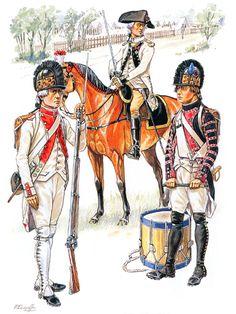 """""""Line Infantry, 1791"""" • Fusikier, 70ͤ Régiment • Field officer, 2ͤ Régiment • Drummer, 35ͤ Régiment"""