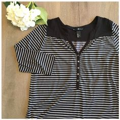 H&M 3/4 sleeve top H&M 3/4 sleeve, 100% polyester top. Black with white, horizontal stripes and buttons halfway down. Slightly longer in the back than the front. Super cute and only worn once! H&M Tops Tunics
