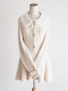 LIZ LISA Rabbit Fur Ribbon White Sweater Cardigan Dress Hime Lolita Kawaii Japan #LizLisa #Cardigan #Shibuya109fashion