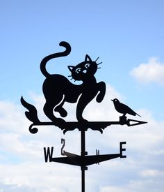 Hey, I found this really awesome Etsy listing at https://www.etsy.com/listing/285383771/cat-and-bird-metal-weathervane-roof