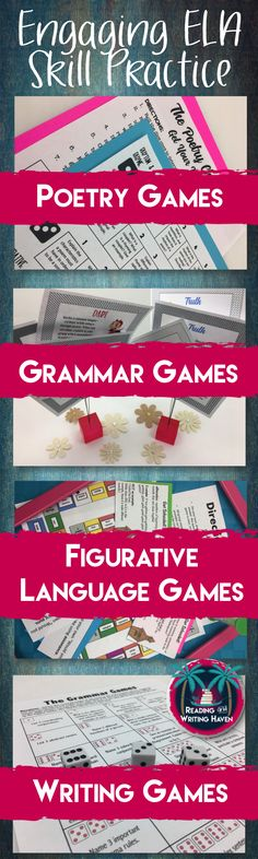 Spice up your high school English lesson plans with some engaging, student-centered games that allow your teens to practice the skills you've taught them in a fun way. Writing, grammar, figurative language, and poetry games are currently included in this growing bundle!
