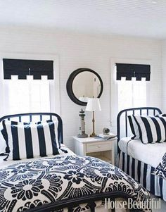 A Blue-and-White Guest Room { Imagine the colors to be black & white]