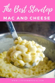 The Best Stovetop Mac and Cheese Recipe - Life& Ambrosia Yummy Pasta Recipes, Cheese Recipes, Side Dish Recipes, Vegan Recipes, Cooking Recipes, Yummy Food, Side Dishes, Noodle Recipes, Sweets Recipes