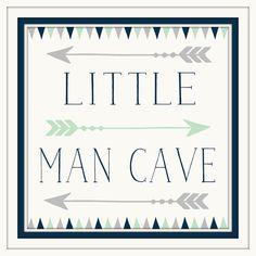 Baby Boy Nursery Decor - Little Man Cave - Navy - Grey - Art with Arrows - Art…