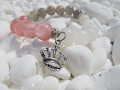 CherryWhite and Smoky Quartz HandMade Bracelet by LadyArtRali