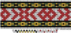 Vesentlig forkleband mønster til Beltestakk og Øst-Telemark. Inkle Weaving Patterns, Loom Patterns, Cross Stitch Patterns, Crochet Patterns, Finger Weaving, Inkle Loom, Fabric Bowls, Tablet Weaving, Tapestry Crochet