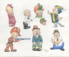 Animator Virgil Ross Original Drawings of Elmer Fudd Elmer Fudd, Drawings, Animation Art, Animation, Art, Original Drawing, Cartoon, Looney Tunes, Zelda Characters