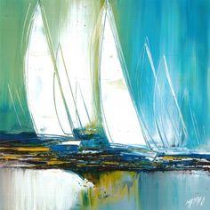 L'oeuvre unique et originale Si tu memmènes a été réalisée par l'artiste Olivier Messas, qui peint des marines très harmonieux, avec des couleurs très lumineuses et variées.