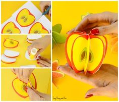 Paper Fruit Craft - Easy Peasy and Fun Fruit Crafts, Food Crafts, Easy Crafts, Paper Crafts For Kids, Diy Paper, Arts And Crafts, 3d Craft, Art N Craft, Paper Fruit