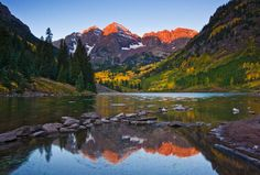 Maroon Bells, CO in the Elkridge Mountains south of Aspen. This is the first of 3 lakes that you find on your way to the base of these two peaks, twin 14ers...