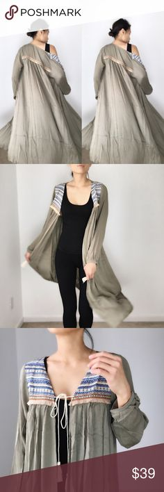 """Sienna bohemian love long duster New duster.Boho luxe fringe tassel long duster in olive. Long sleeve maxi length. Lightweight outerwear. Embroidered details. I'm wearing size S for cover shots .size S bust 40"""". length 44"""". size M bust 41"""", length 44. Size L bust 43"""", length 45"""". Music festival #coachella CHICBOMB Sweaters Cardigans"""