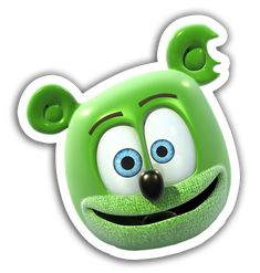 Gummibär Character Head Sticker - everyone's favorite singing and dancing animated gummy bear!
