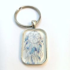 Key Chain ~ Blue Feather Dream Catcher ~ Silver 20 x 30 mm Rectangle Glass Dome Cabochon ~ 1 inch Ring ~ Photo Pendant Key Chain Ring