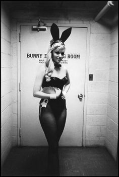 playboy bunny in front of the bunny dressing room