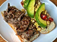 Dinner Tonight: Steak Sandwich with Corn, Tomato, and Avocado