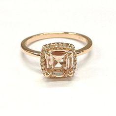 $399 Cushion Morganite Engagement Ring Pave Diamond Wedding 14K Rose gold Gold,7mm LOGR-Morganite Rings http://www.amazon.com/dp/B018JJAU8U/