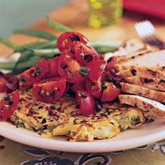 Potato-Zucchini Skillet Pancakes with Cherry Tomato Salad | MyRecipes.com