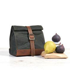 Dark Green waxed cotton lunch bag. School lunch box.