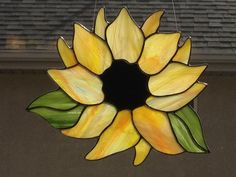 Stained Glass Sunflower Suncatcher by FoxStainedGlass on Etsy