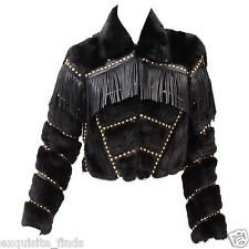 New Versace fur cropped jacket with studs, crystals and leather fringe