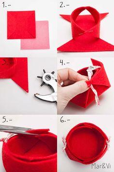 cestino fai da te con feltro Felt Diy, Felt Crafts, Diy And Crafts, Arts And Crafts, Gift Wrap Box, Felt Decorations, Felting Tutorials, Diy Box, Diy Tutorial
