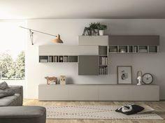 Mueble modular de pared composable lacado SLIM 89 by Dall'Agnese diseño Imago Design, Massimo Rosa