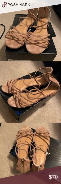 Jcrew strappy suede sandals Bought last spring and worn once. Size 9 excellent condition J. Crew Factory Shoes Sandals
