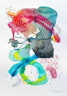 Abstract painting original mixed media painting by VictoriAtelier