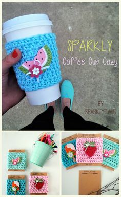 Sparkly & glittery summer coffee cup cozies! Shop now at www.sparklytwig.etsy.com. Totally using these for both hot and iced coffee!