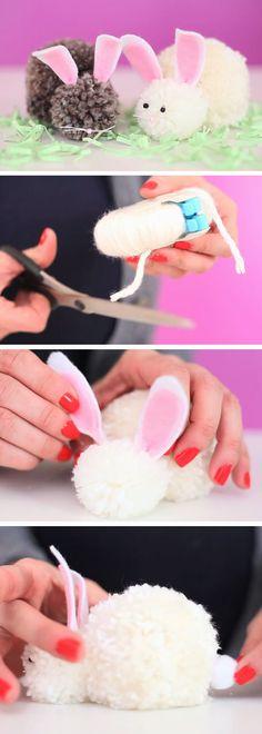 Pom Pom Bunnies | DIY Easter Crafts for Preschoolers to Make | Easy Spring Craft Ideas for Kids to Make