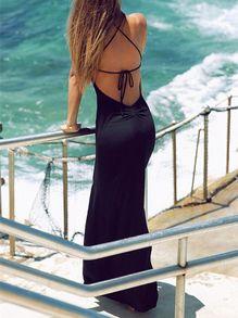 robe longue fendu dos nu -Noir
