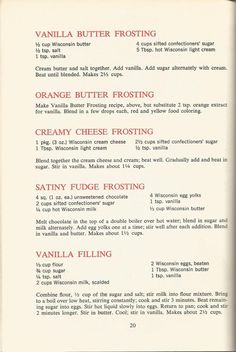 nice Vintage Recipes: 1964 Cakes, Cookies and Frostings Retro Recipes, Old Recipes, Baking Recipes, Cake Recipes, Dessert Recipes, Recipies, Family Recipes, Cake Filling Recipes, Baking Hacks