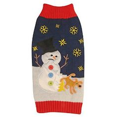 Dog Christmas Sweater: Dog Peeing on Snowman