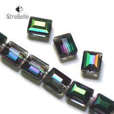 2016 новая мода малахитовый зеленый покрытие бусы полу стекло создать свой стиль Квадратной формы бусин 26fa купить на AliExpress